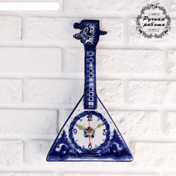 Часы настенные балалайка, гжель, 30х19 см