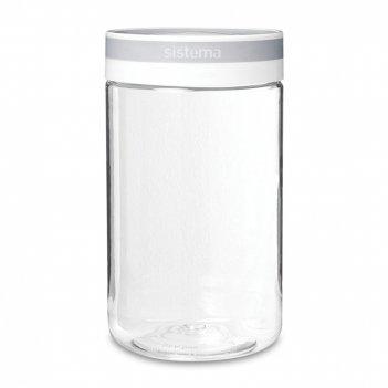 Банка для сыпучих продуктов, объем: 1,2 л, материал: тритан, цвет: белый,