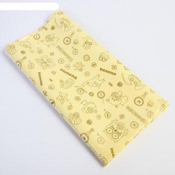 Клеенка 70х100 см., с пвх покрытием, без окантовки, цвет жлелтый с рисунко