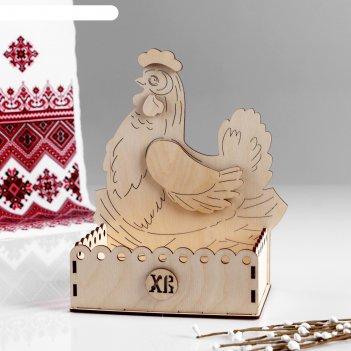 Заготовка для творчества. пасхальная коробка под яйца курочка, 20,5х18х21