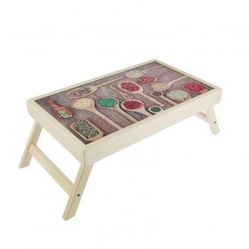 Столик для завтрака специи в ложках стеклянная поверхность