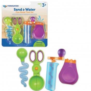 Набор игрушечных инструментов щипчики маленькие ручки. вода и песок 4 элем