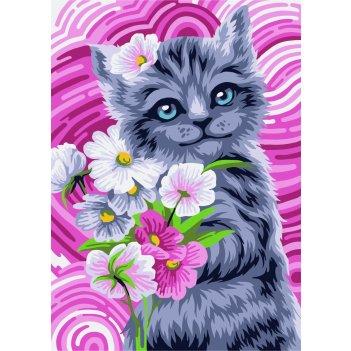 Раскраска по номерам русская живопись милый котик kh004