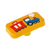 Ручка кнопка детская kid 033, паровозик, резиновая, желтая