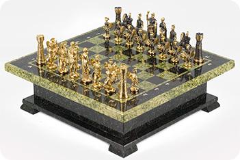 Шахматный ларец фигуры римские змеевик 420х420х130 мм 22 кг