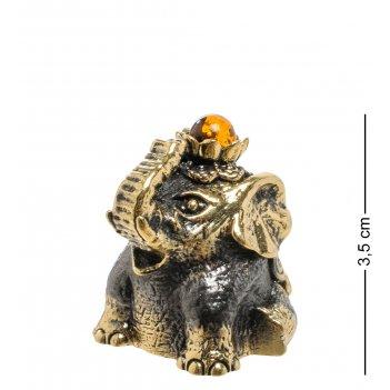 Am-1906 фигурка колокольчик-слон лотос (латунь, янтарь)