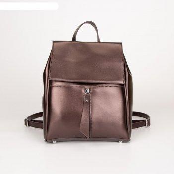 Рюкзак, отдел на клапане, цвет коричневый