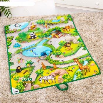 Игровой развивающий коврик «зоопарк 3d»