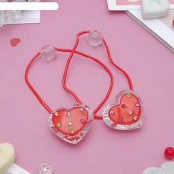 Резинка д/волос прозрачная (набор 12 шт) сердце
