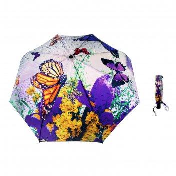 Зонт женский flioraj пробуждение, бабочки и цветы, 3 сложения, суперавтома