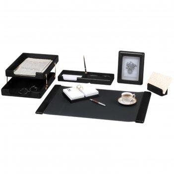 Набор настольный delucci 6 предметов, черное дерево, фоторамка 271031