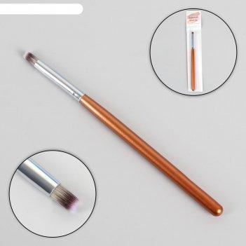 Кисть для дизайна ногтей «омбре», 15,5 см, голова 9 x 6 мм, цвет коричневы