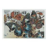 Часы настенные прямоугольные бабочки, 25х35 см