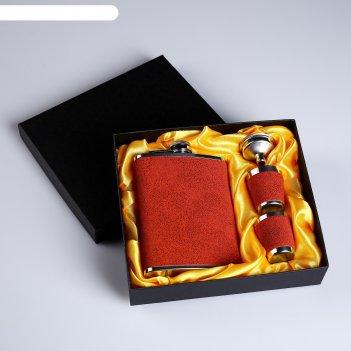 Подарочный набор 4в1 под красное дерево: фляжка 240 мл, 2 рюмки, воронка