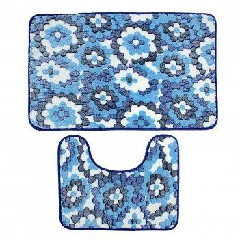 Набор ковриков для ванной и туалета голубые цветы 2 шт, 50х80, 50х40 см