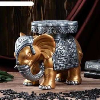 Статуэтка слон №5 большой 29*25 см золото/серебро