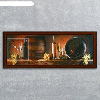 Часы-картина настенные, серия: интерьер, винные бочки, 35х100  см, микс