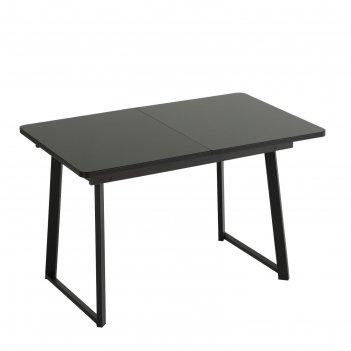 Стол раздвижной манхэттен 1200/1600х800х740 стекло чёрный/венге/опоры манх