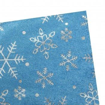 Велюр с новогодним нанесением крупные снежинки серебро на голубом