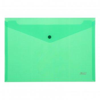 Папка-конверт на кнопке а4 180мкм, зеленая