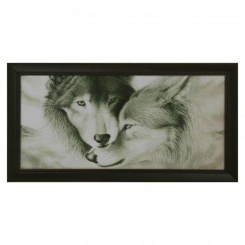 Гобеленовая картина волки 30х70см