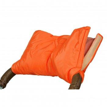 Муфта для рук на коляску флисовая (на липучке), цвет оранжевый мкф02-001