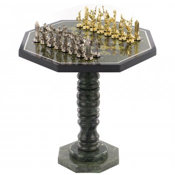 Шахматный стол фигуры греческая мифология змеевик металл 600х6