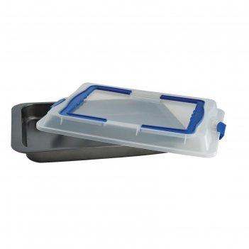 Противень глубокий с пластиковой крышкой 42х29х5 см linea easy
