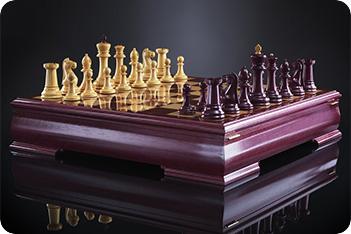 Шахматы стаунтон люкс (амарант/самшит), ограниченная серия kadun 51см