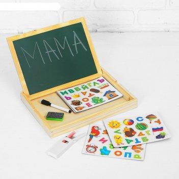 Конструктор магнитный алфавит в деревянной коробке + мел, маркер, губка