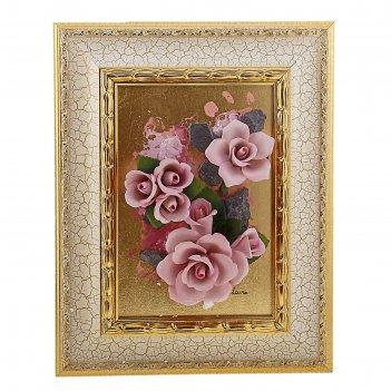 Картина розовые розы, серия арт-деко