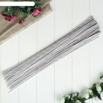 Проволока для изготовления искусственных цветов белая 60 см сечение 4 мм