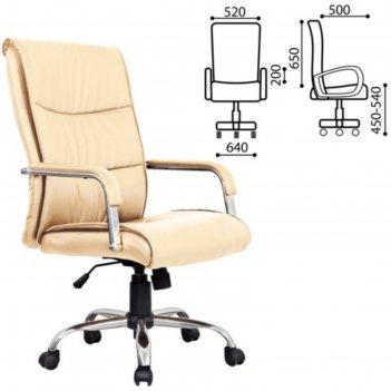 Кресло офисное brabix space ex-508, экокожа, хром, бежевое