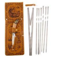 Набор для шашлыка щука (6 шампуров,мангал, нож) 58х20х3,5 см