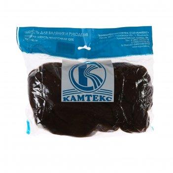 Шерсть для валяния 100% полутонкая шерсть 50 гр (063, шоколад)