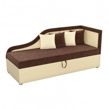Детский диван «дюна», механизм выкатной, микровельвет, цвет коричневый / б
