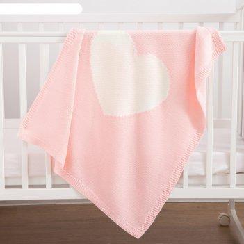 Плед вязаный крошка я сердце цв. розовый, 75*95 см, акрил, 100% п/э