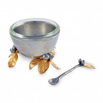 Солонка с ложкой «волшебный сад», диаметр: 6 см, материал: олово, серия ma