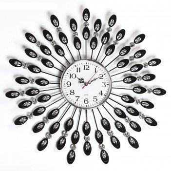 Часы настенные, серия: ажур, перья павлина, d=50 см микс