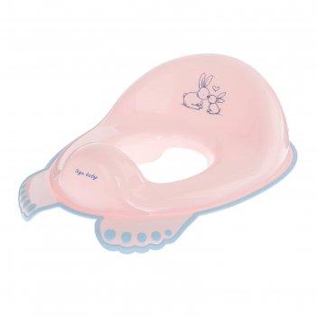 Детская накладка на унитаз «кролики» антискользящая, цвет розовый