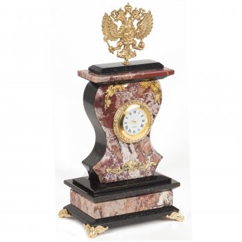 Часы герб креноид змеевик бронза 140х95х290 мм 2700 гр.