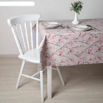 Клеенка столовая на ткани (рулон 20 метров), ширина 137 см сакура цвет роз