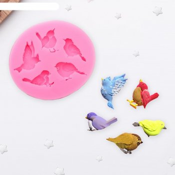 Молд 6х5,5х1 см пять птиц