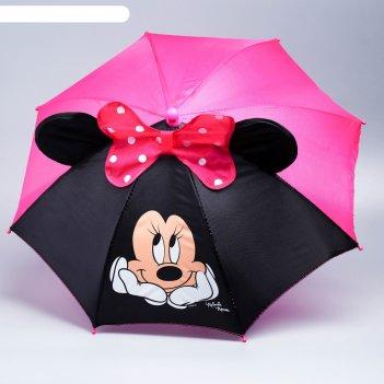 Зонт детский минни, 8 спиц, d=52 см, минни маус, с ушками и бантом