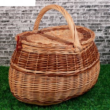 Корзина «пикник», с крышкой, дно:43х28 см, верх:44х33 см, h=29/47 см, лоза