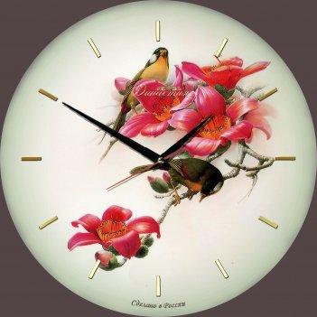 Настенные часы из стекла династия 01-012 птички