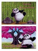 Альбом для рисования а4, 24 листа на скрепке веселая панда вд-лак, уф-лак,