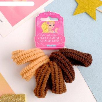 Резинка для волос махрушка (набор 6 шт) коричневая