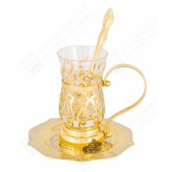 Набор чайный восточный  (тарель, стакан, ложка)