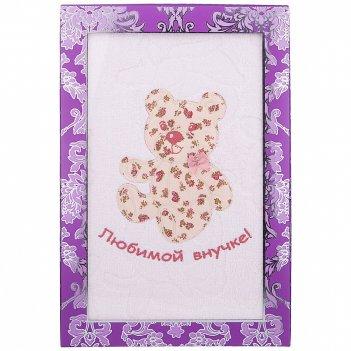 Полотенце банное 70х140 внучке, 450 г/м2,махра, х/б 100%, розовый